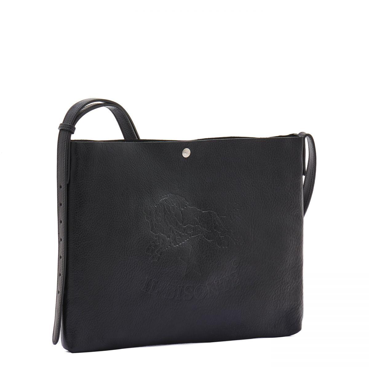 Men's Shoulder Bag in Cowhide Double Leather BSH042 color Black | Details