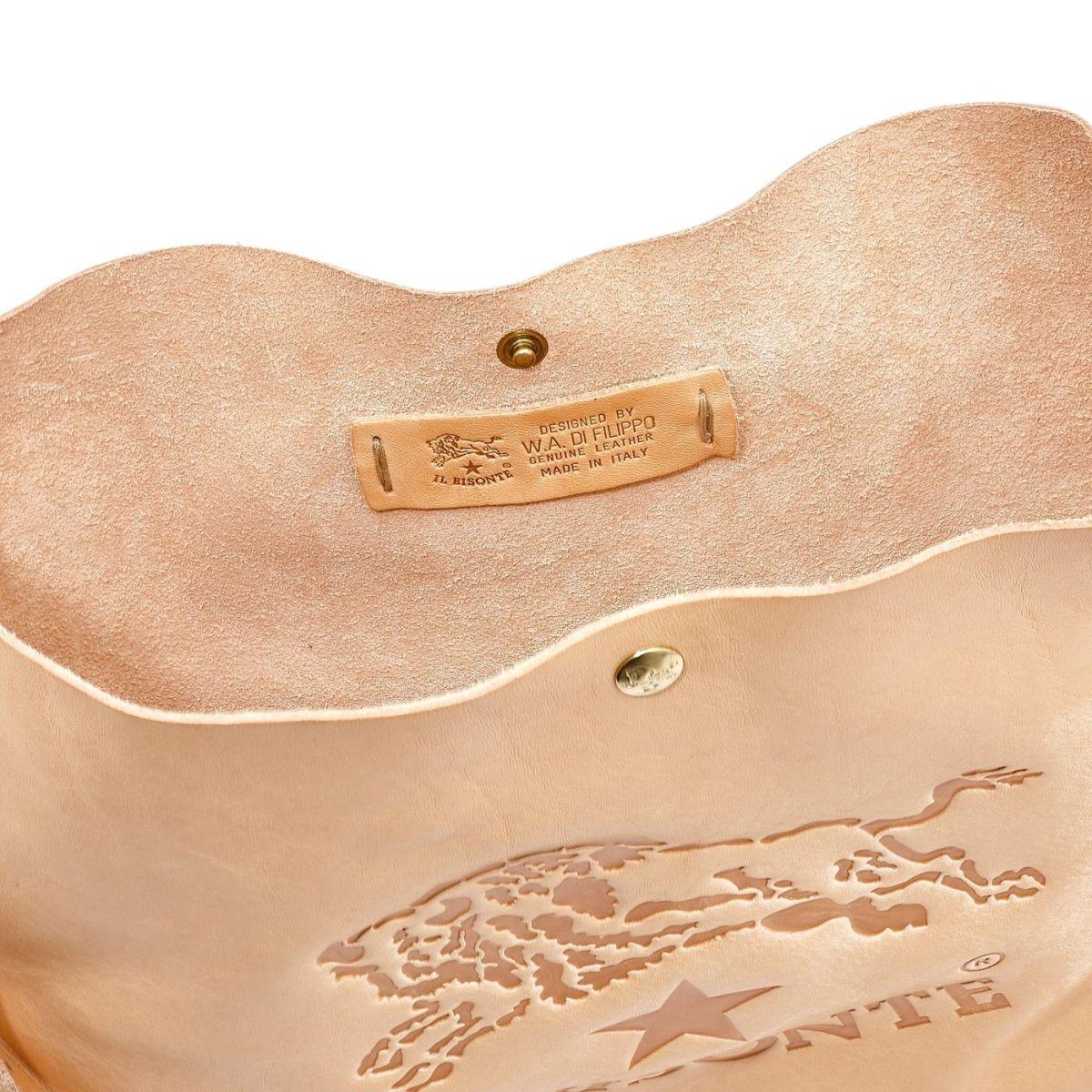 Men's Shoulder Bag in Cowhide Double Leather BSH042 color Natural | Details
