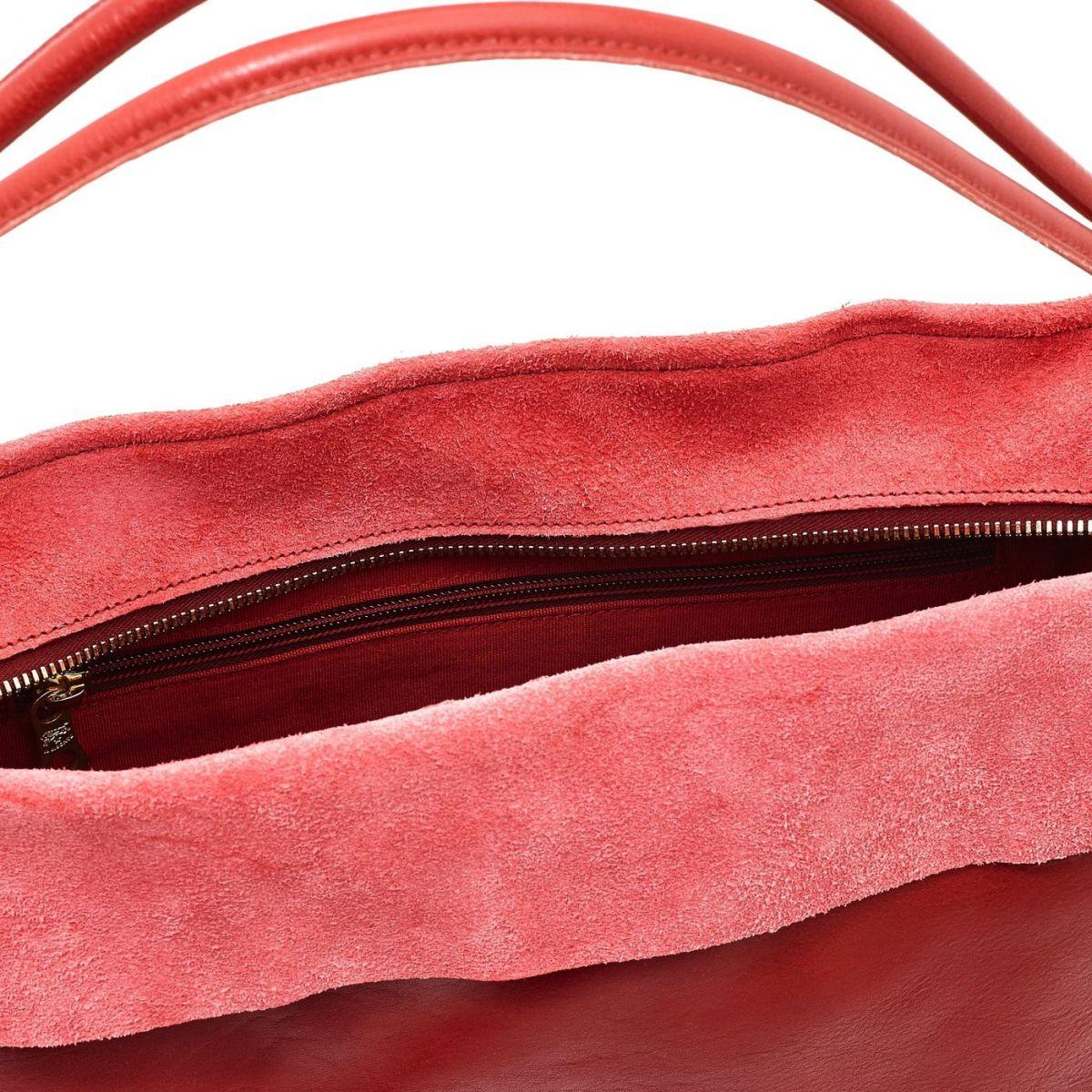Sac Epaule pour Femme Landscape en Cuir De Vachette Doublé BSH061 couleur Rouge | Details