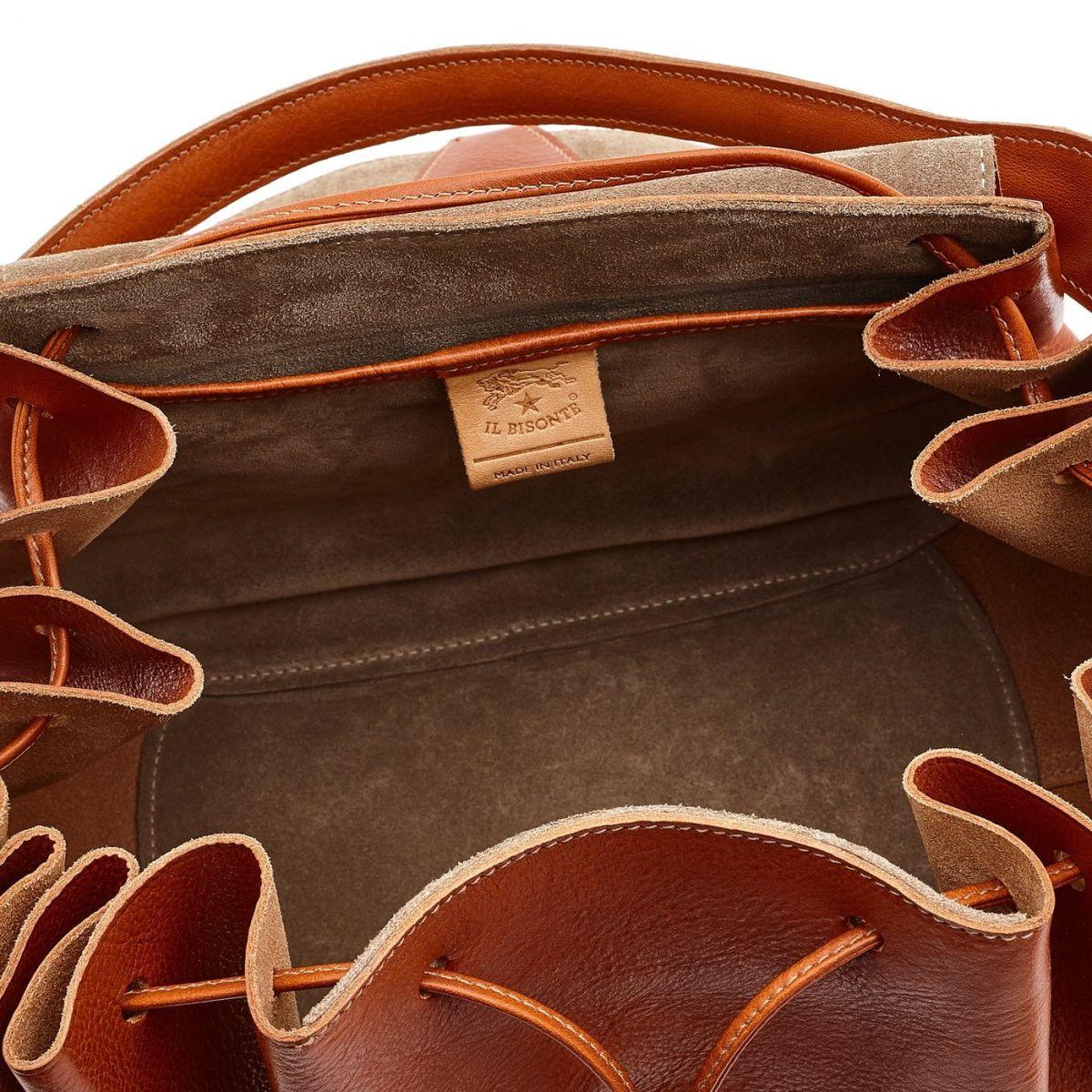 Borsa A Spalla da Donna Curly in Pelle Di Vacchetta BSH064 colore Caramello   Details