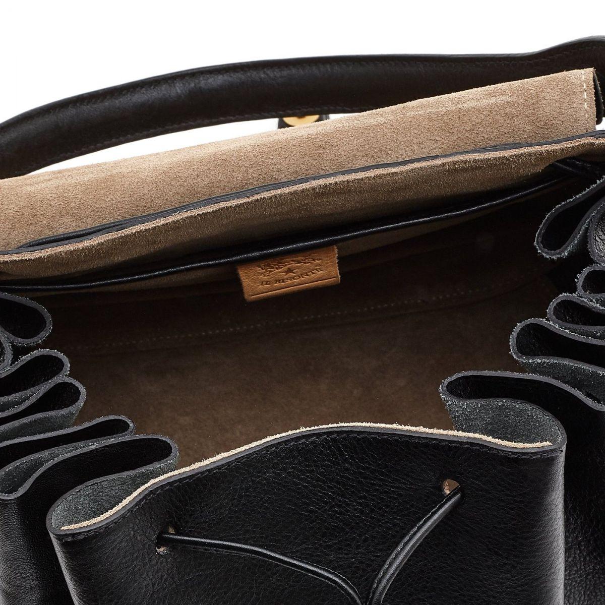 Borsa A Spalla da Donna Curly in Pelle Di Vacchetta BSH064 colore Nero | Details
