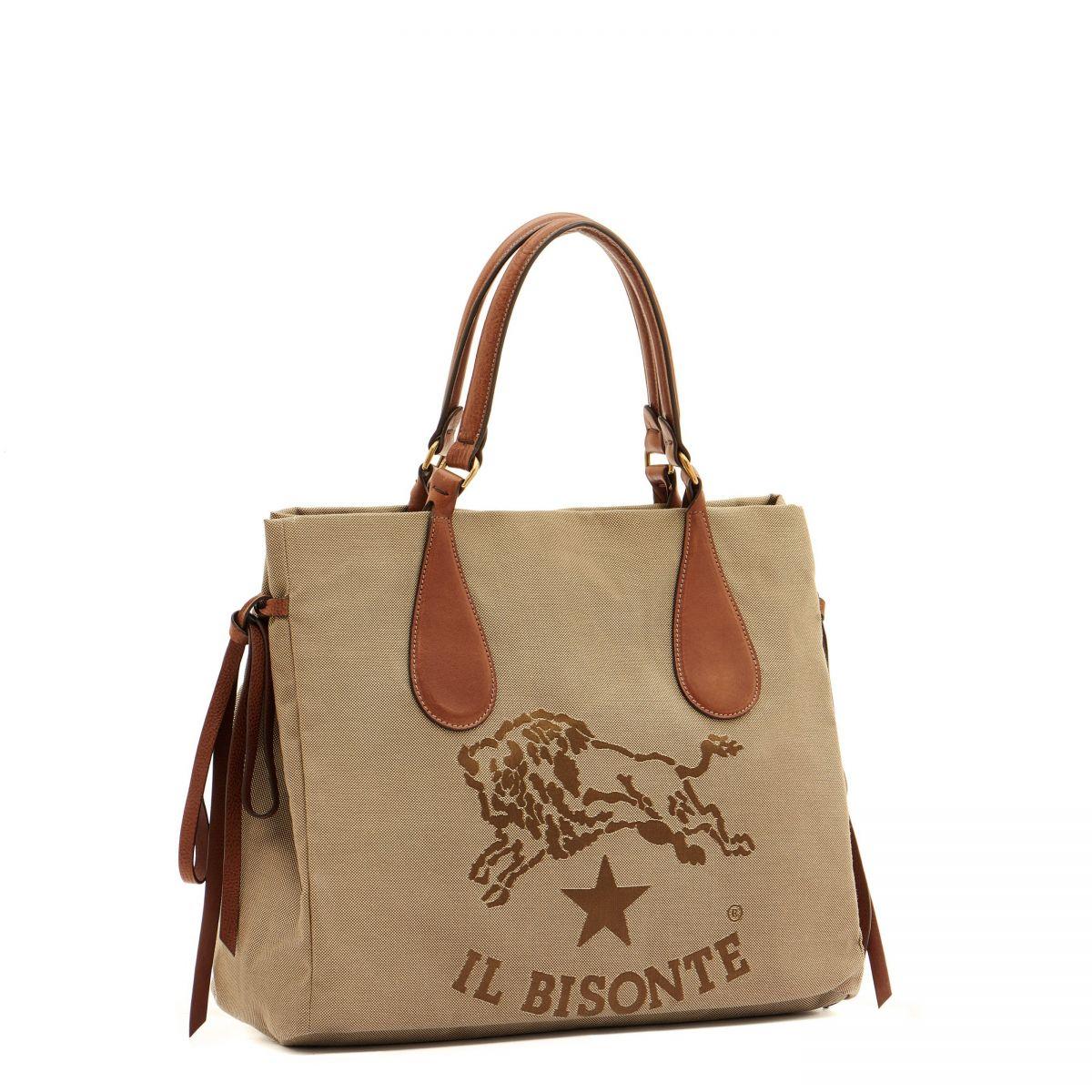 Women's Shoulder Bag  in Jaquard BSH066 color Khaki/Chocolate | Details