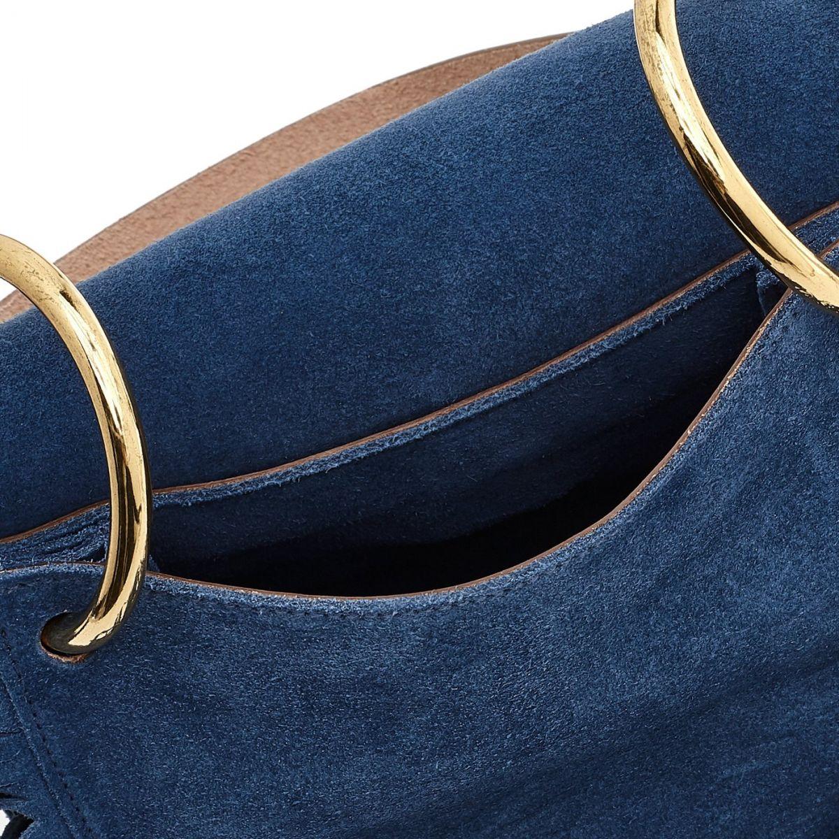 Sac Epaule pour Femme  en Cuir De Vachette BSH083 couleur Bleuets | Details