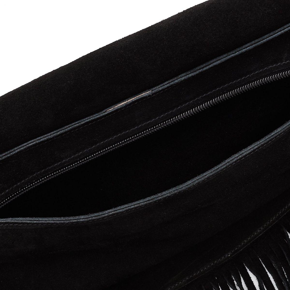 Sac Epaule pour Femme  en Cuir De Vachette BSH084 couleur Noir | Details