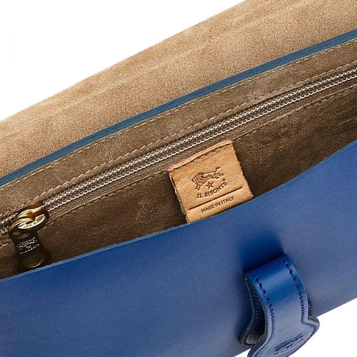 Women's Shoulder Bag Salina in Cowhide Leather BSH085 color Blueberry | Details