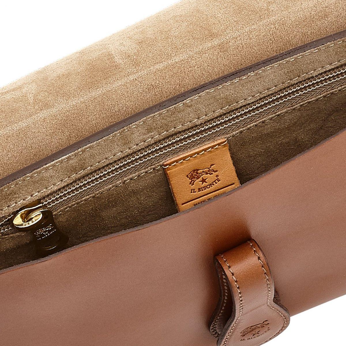 Sac Epaule pour Femme Salina en Cuir De Vachette BSH085 couleur Chocolat | Details