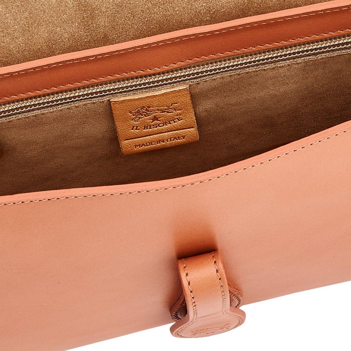 Sac Epaule pour Femme Salina en Cuir De Vachette BSH089 couleur Poivre Rose | Details