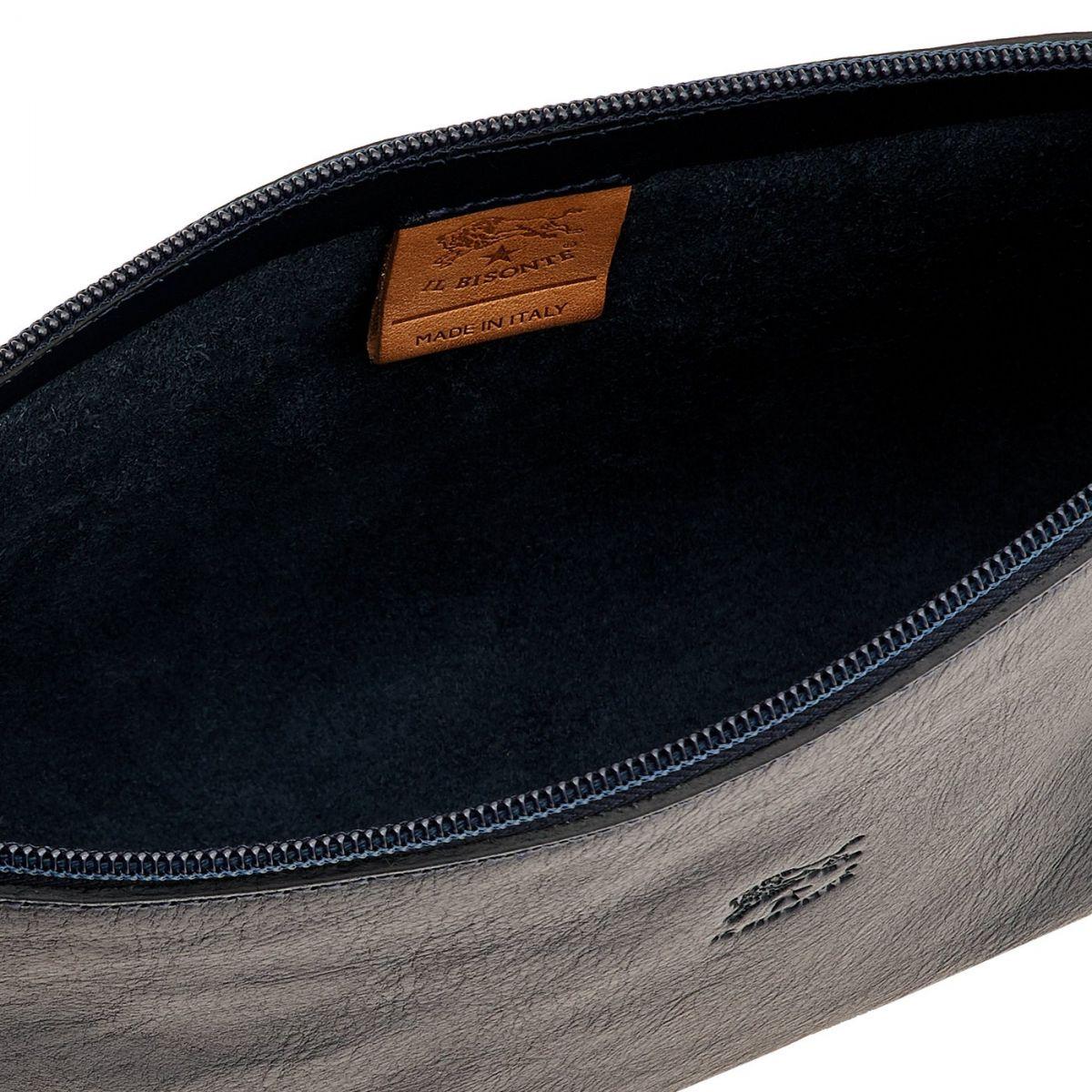 Sac Epaule pour Femme Salina en Cuir De Vachette BSH092 couleur Bleu | Details
