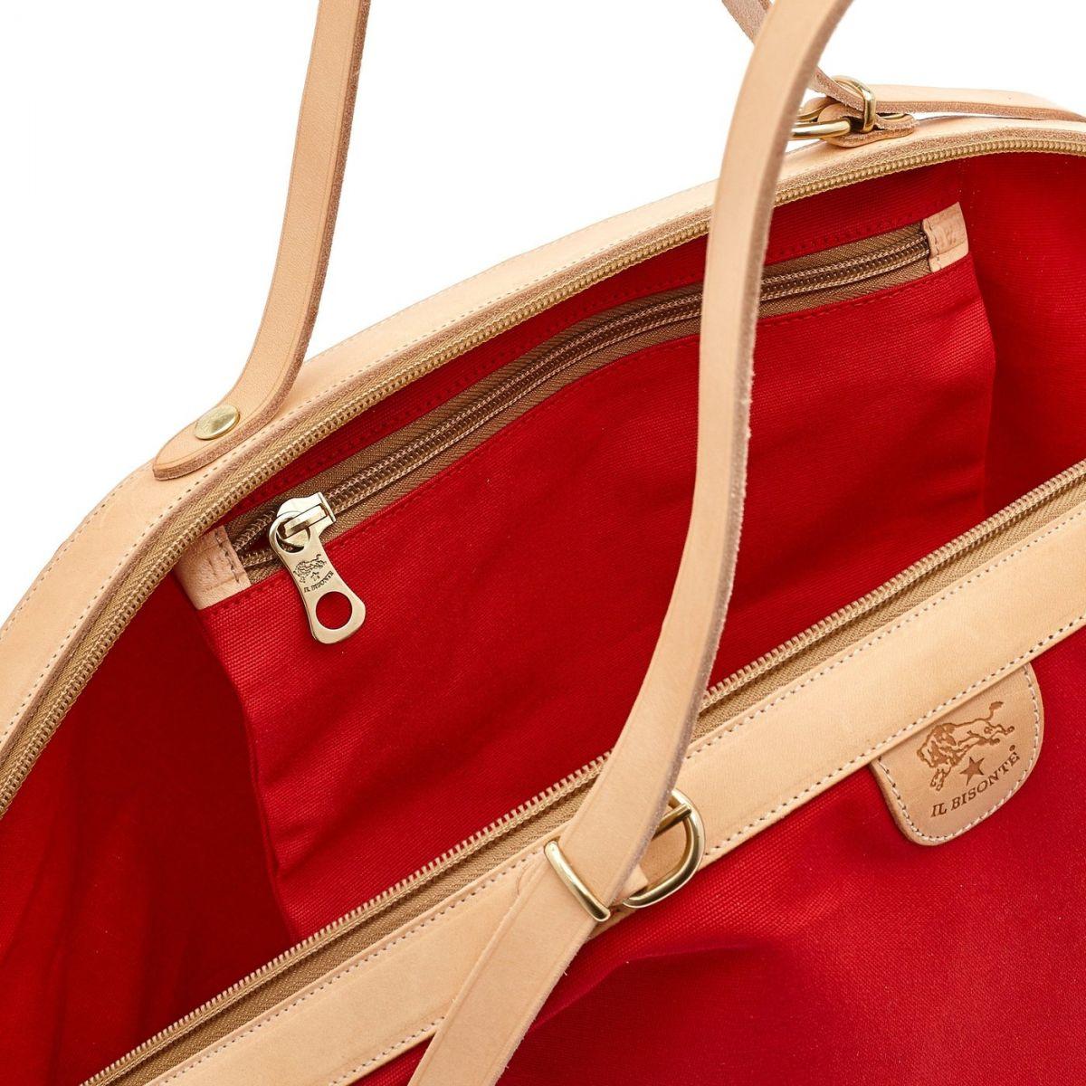 Caramella  - Women's Shoulder Bag  in Cotton Canvas BSH112 color Red/Natural | Details