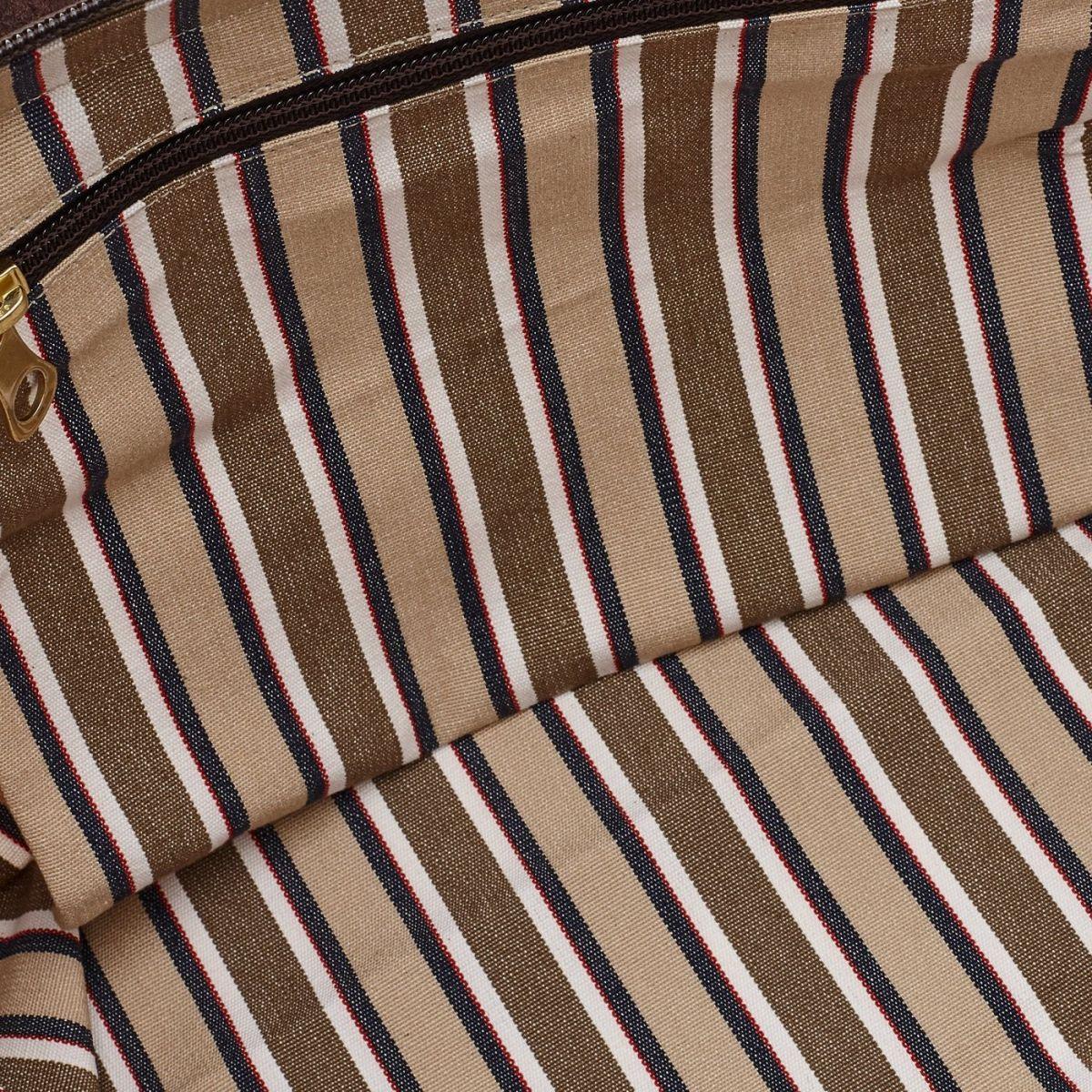 Caramella  - Women's Shoulder Bag  in Striped Cotton Canvas BSH112 color Multicolor | Details