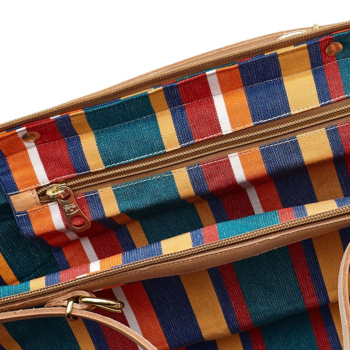 Caramella  - Women's Shoulder Bag  in Striped Cotton Canvas BSH112 color Multicolor | Details