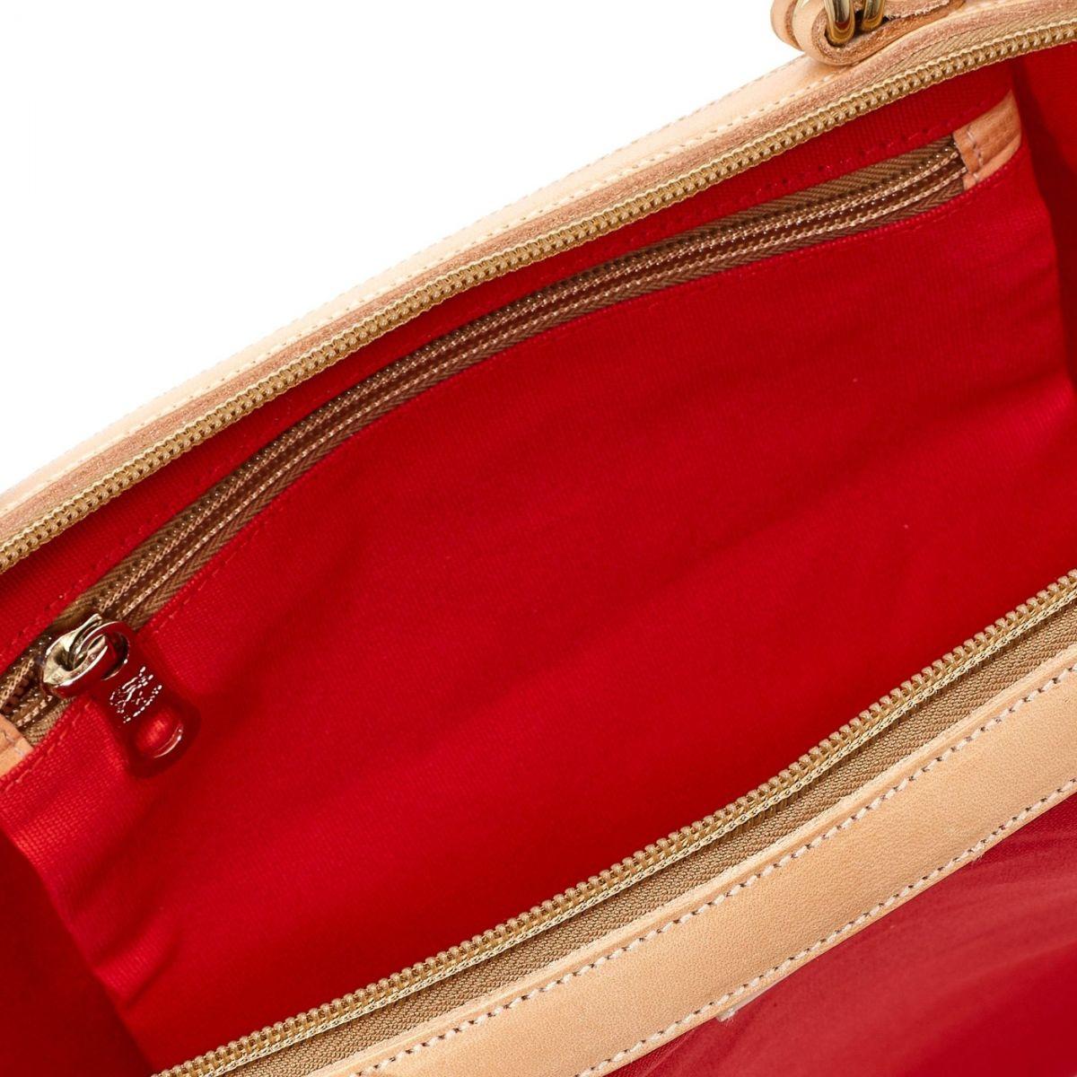 Caramella  - Women's Shoulder Bag  in Cotton Canvas BSH119 color Red/Natural | Details