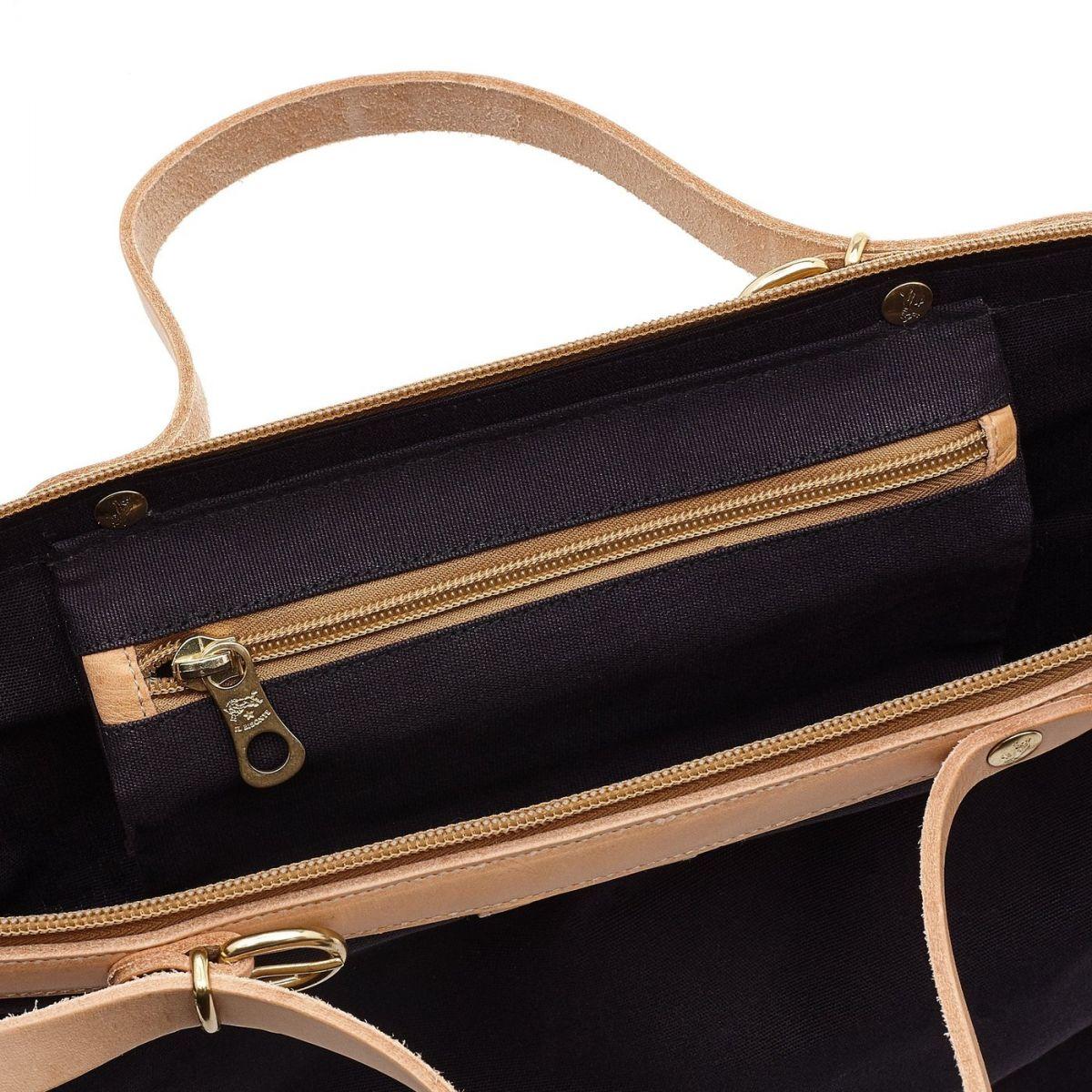 Caramella  - Women's Shoulder Bag  in Cotton Canvas BSH119 color Blue | Details