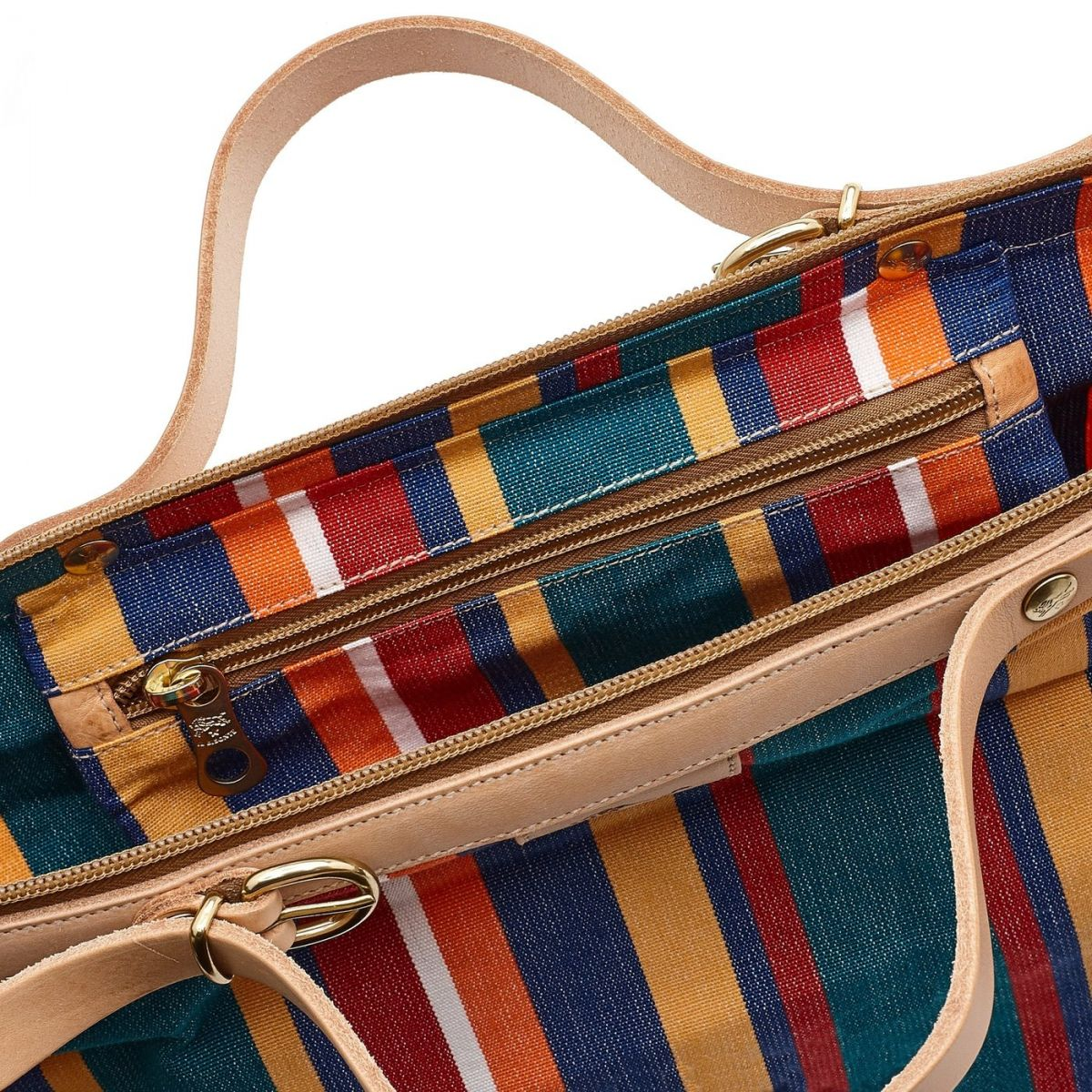 Caramella  - Women's Shoulder Bag  in Striped Cotton Canvas BSH119 color Multicolor | Details
