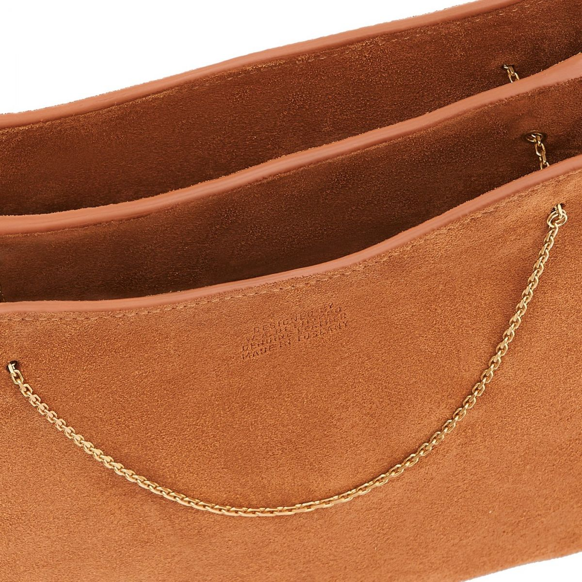 Giglio - Women's Shoulder Bag in Re-Suede color Tobacco - Mediterranea line BSH132 | Details