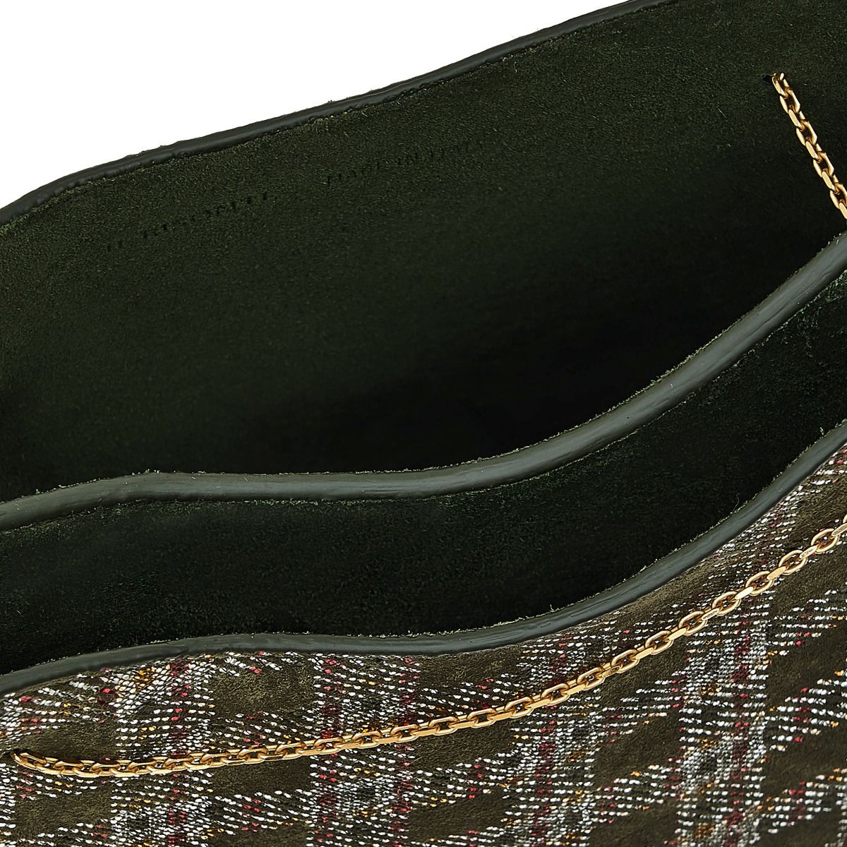 Giglio - Women's Shoulder Bag in Check Printed Suede/Glitter color Green - Mediterranea line BSH132 | Details