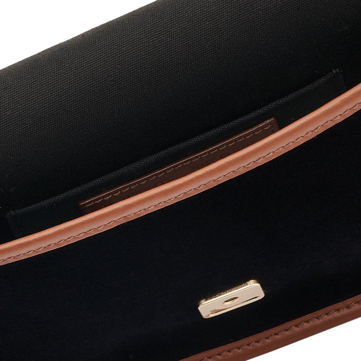 Luisa - Women's Shoulder Bag in Velvet/Calf Leather color Black/Tobacco - Simmetria line BSH133 | Details