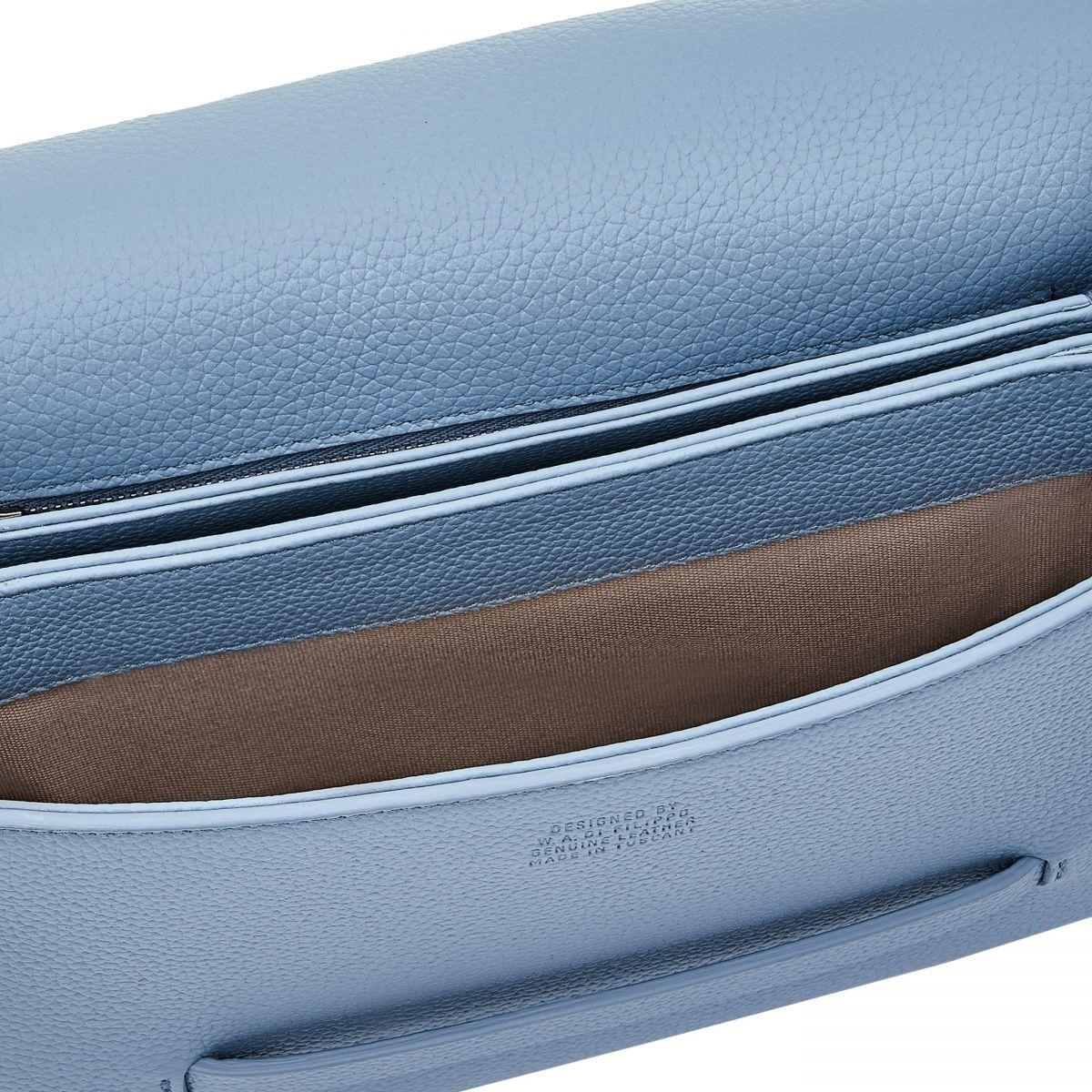 Belle Donne - Women's Shoulder Bag in Calf Leather color Light Blue - Fifty On line BSH134 | Details