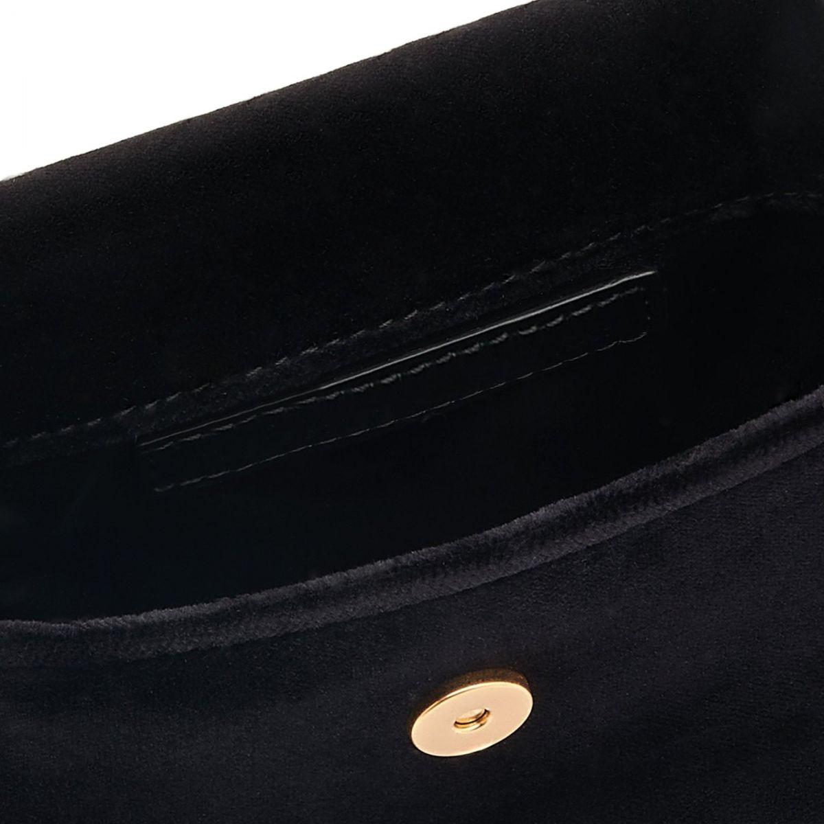 Contessina - Sac Epaule pour Femme en Velours/Cuie De Veau couleur Noir - Ligne Tondina BSH146 | Details