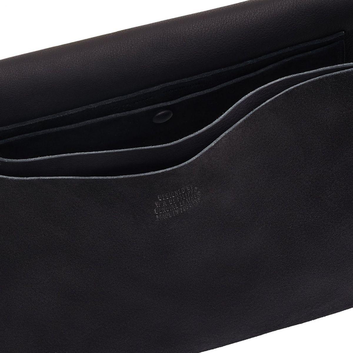 Lucrezia - Women's Shoulder Bag in Reversed Suede color Black - Tondina line BSH148 | Details