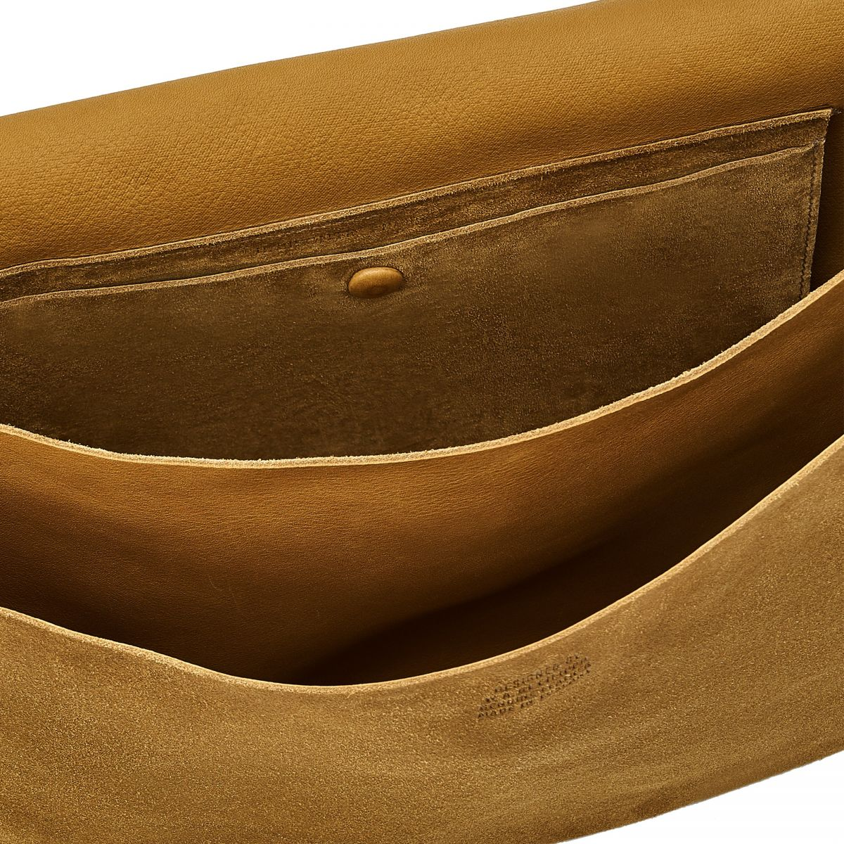 Lucrezia - Women's Shoulder Bag in Reversed Suede color Olive - Tondina line BSH148 | Details