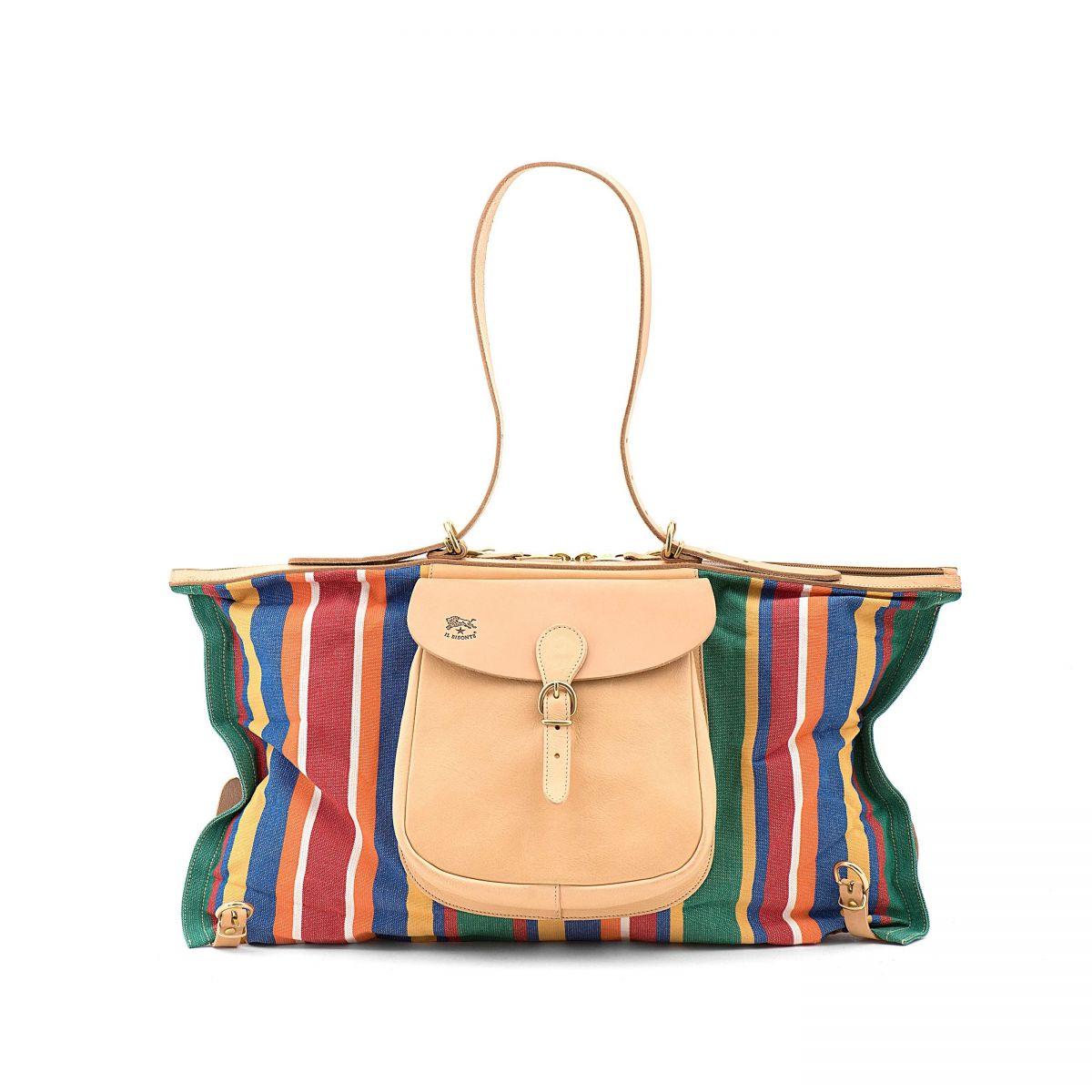 Maremmana  - Women's Handbag  in Striped Cotton Canvas BTH012 color Multicolor | Details