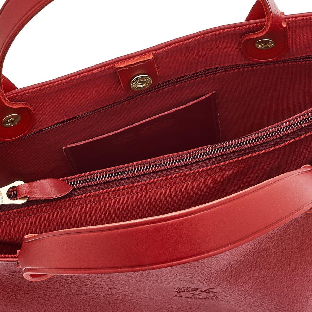 Federica - Sac A Main pour Femme en Cuir De Vachette Doublé BTH016 couleur Rouge | Details