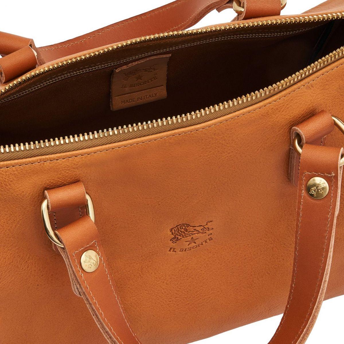 Women's Handbag in Vintage Cowhide Leather BTH019 color Natural | Details