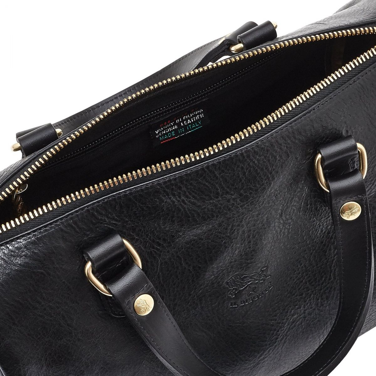 Women's Handbag in Cowhide Double Leather BTH019 color Black | Details