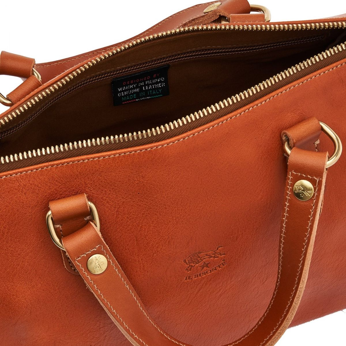 Women's Handbag in Cowhide Double Leather BTH019 color Caramel | Details