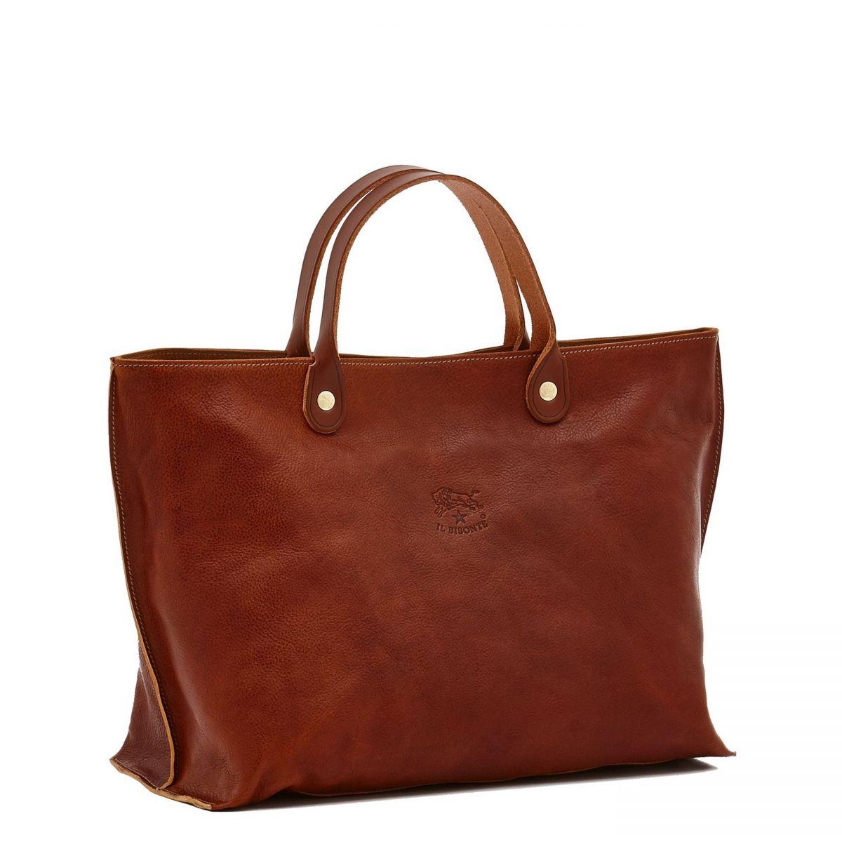 Women's Handbag in Vintage Cowhide Leather BTH022 color Dark Brown Seppia | Details