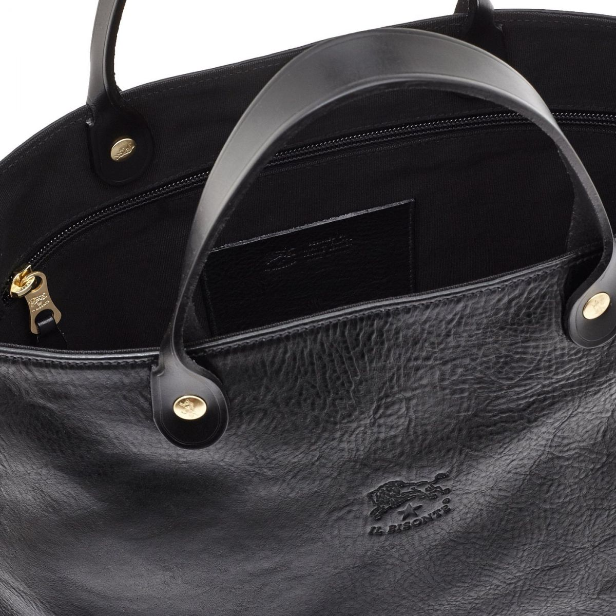 Women's Handbag in Cowhide Double Leather BTH022 color Black | Details