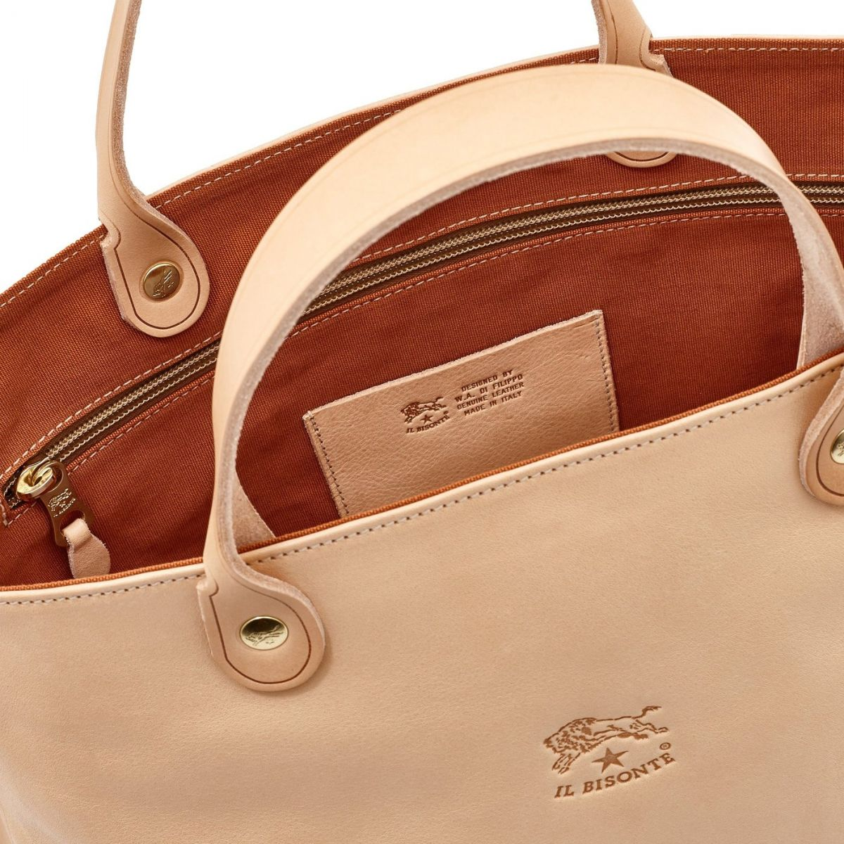 Women's Handbag in Cowhide Double Leather BTH022 color Natural | Details