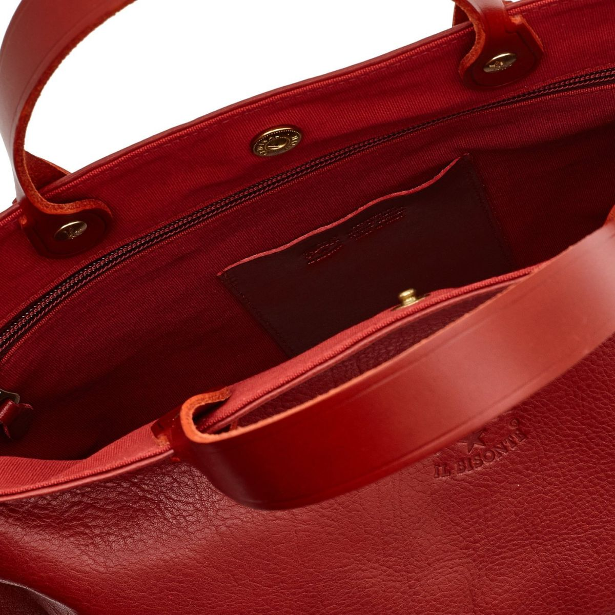 Women's Handbag in Cowhide Double Leather BTH022 color Red | Details