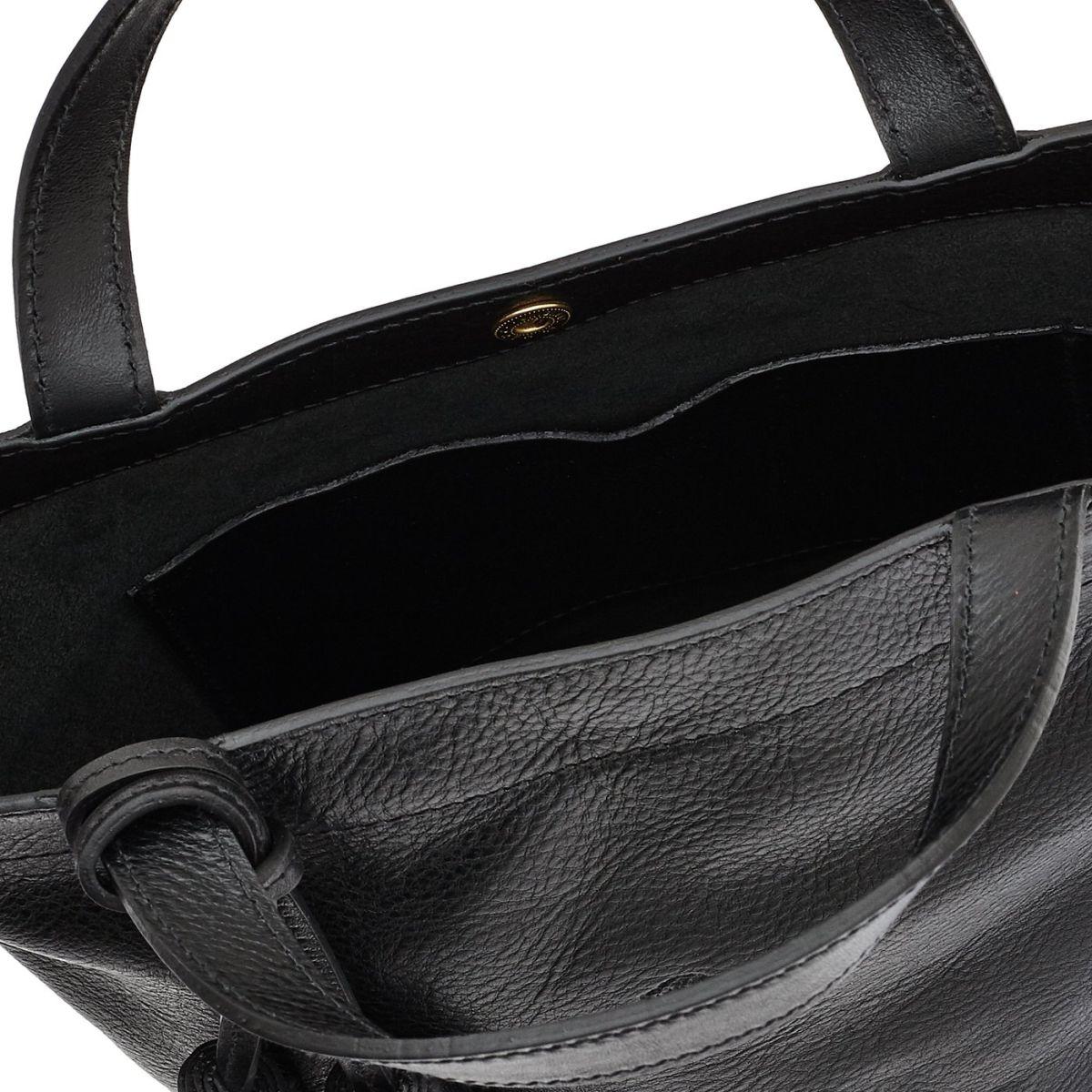 Cristina - Women's Handbag in Cowhide Double Leather color Black - Stibbert line BTH045 | Details