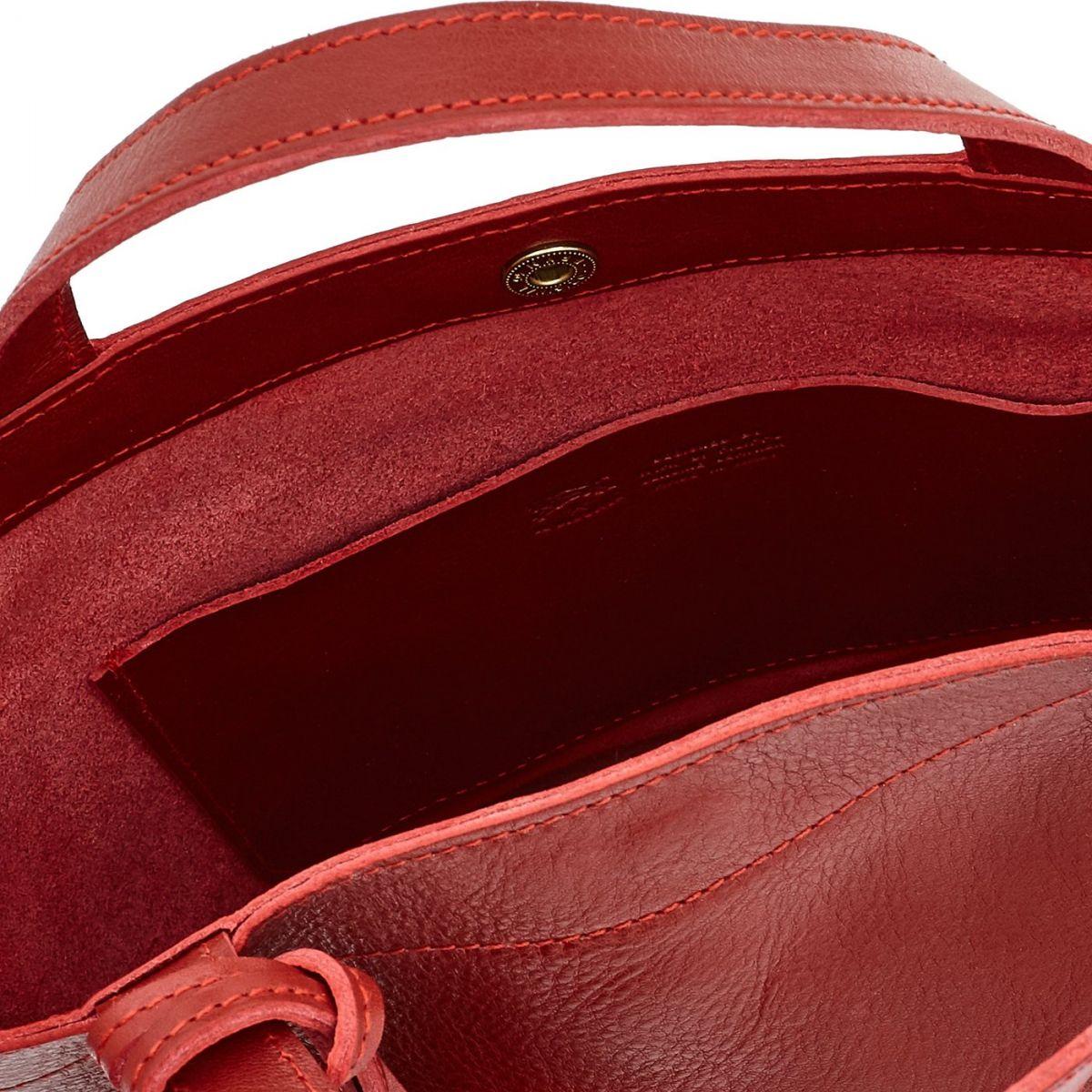 Cristina - Borsa A Mano da Donna in Doppia Pelle Di Vacchetta colore Rosso - Linea Stibbert BTH045 | Details