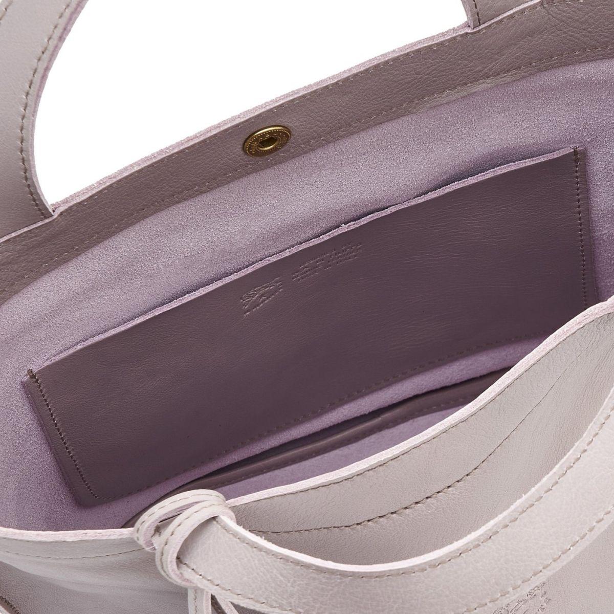Cristina - Women's Handbag in Cowhide Leather color Mauve - Stibbert line BTH045 | Details