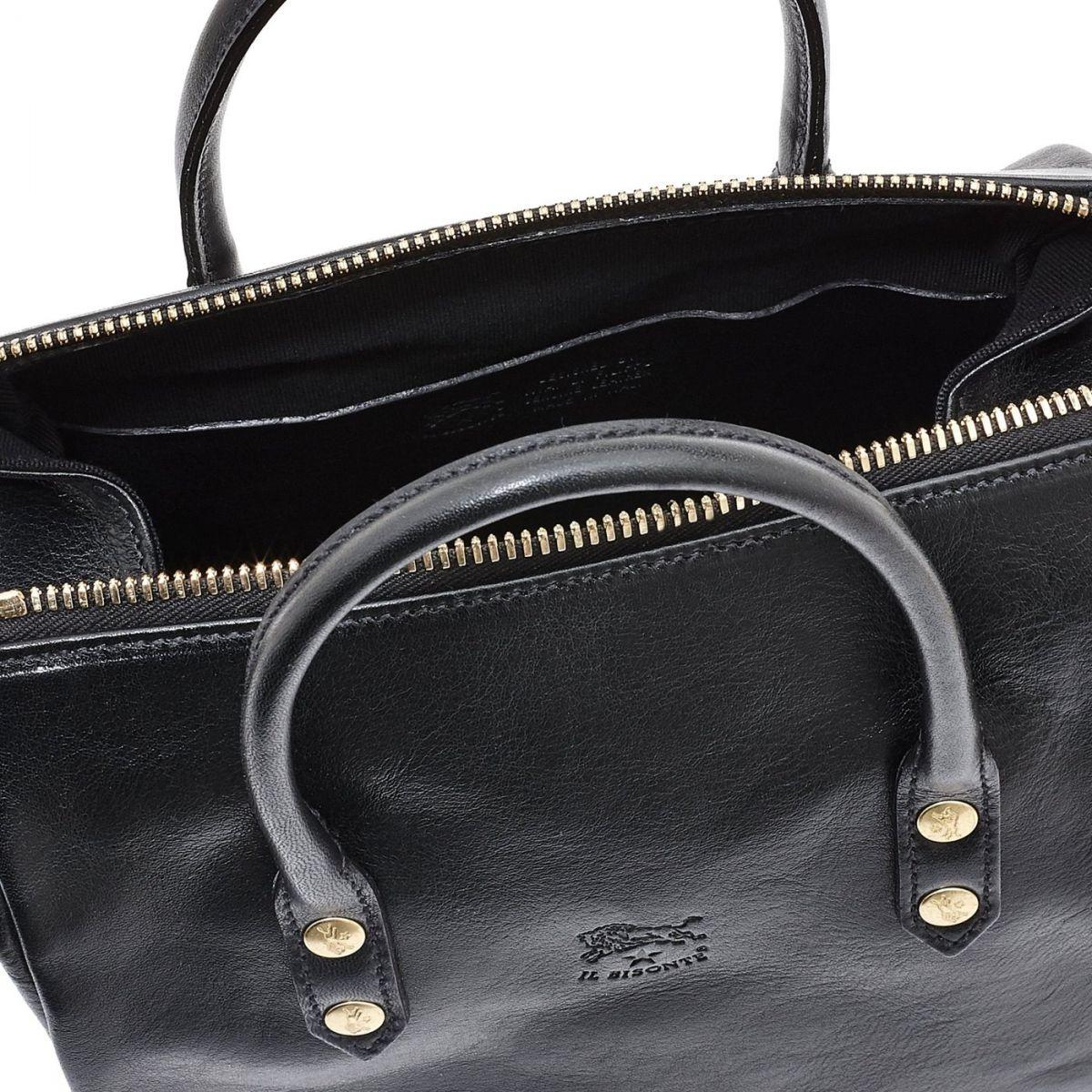 Women's Handbag Pratolino in Cowhide Double Leather BTH049 color Black | Details