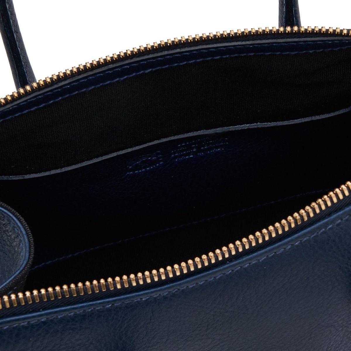 Sac A Main pour Femme Pratolino en Cuir De Vachette Doublé BTH049 couleur Bleu | Details