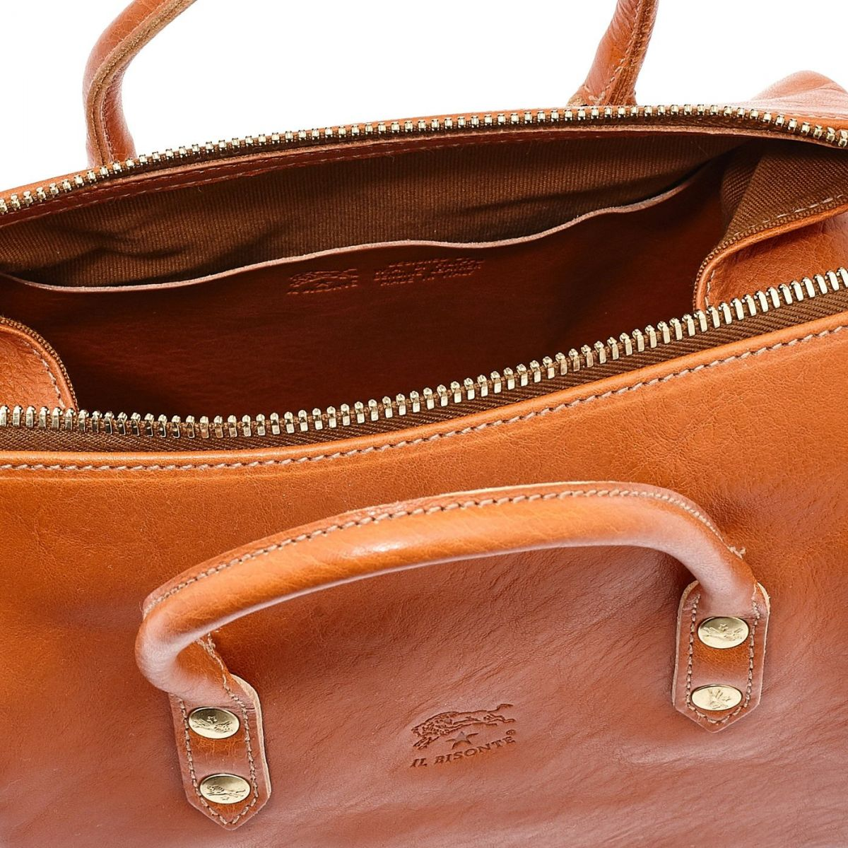 Women's Handbag Pratolino in Cowhide Double Leather BTH049 color Caramel | Details
