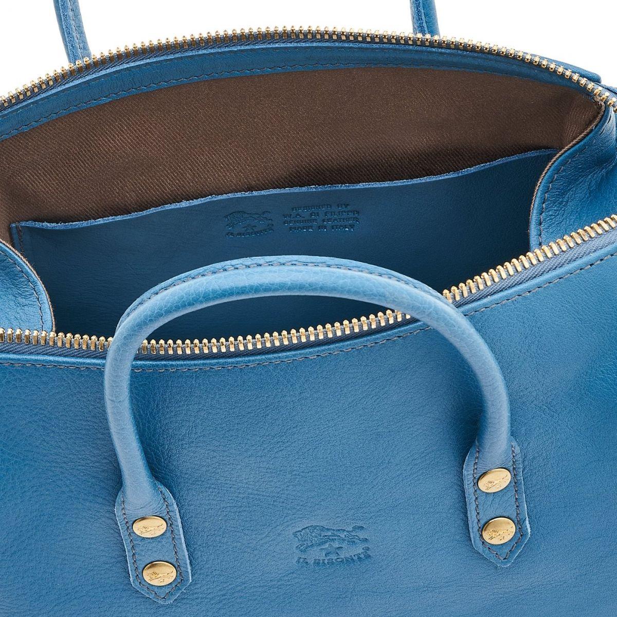Women's Handbag in Cowhide Leather color Blue Teal - Pratolino line BTH049 | Details