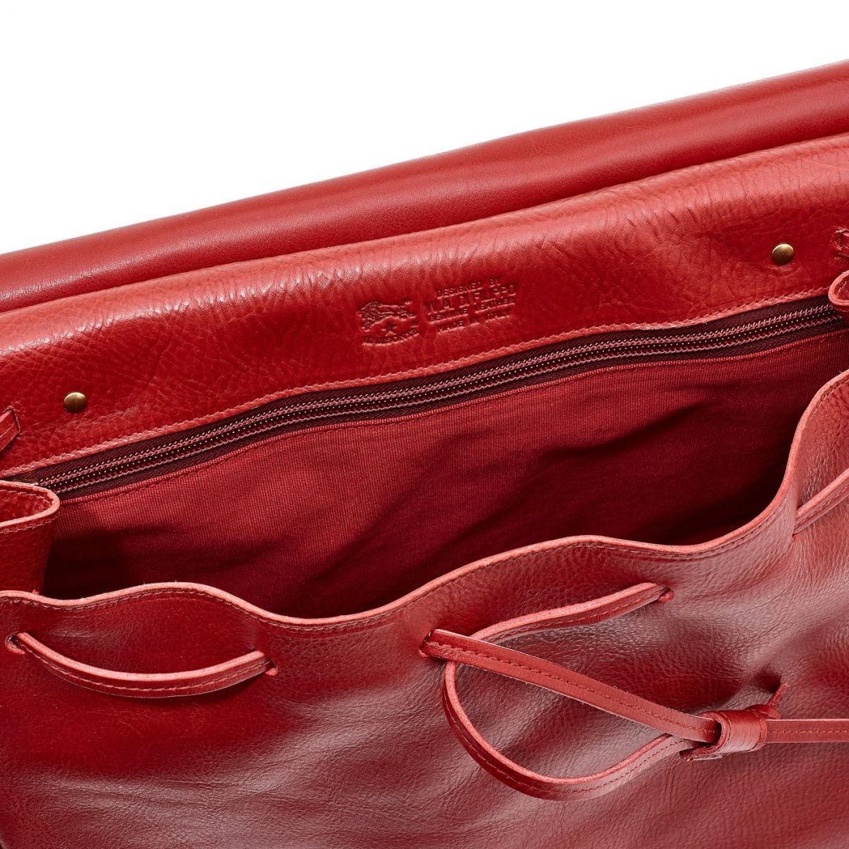 Sac A Main pour Femme Tornabuoni en Cuir De Vachette Doublé BTH051 couleur Rouge | Details