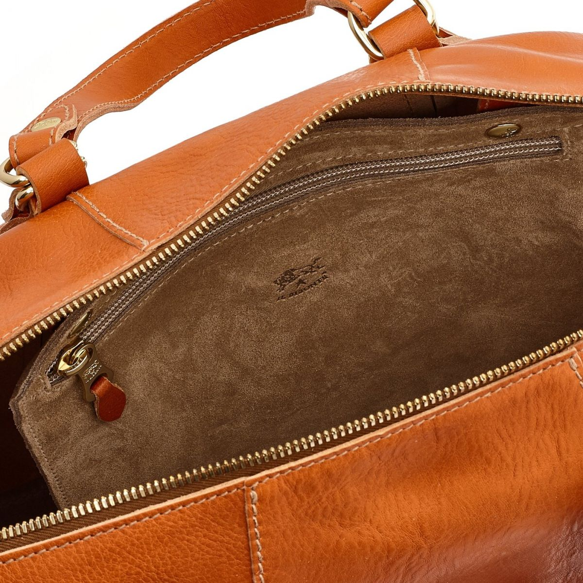 Women's Handbag Stromboli in Cowhide Leather BTH105 color Caramel | Details