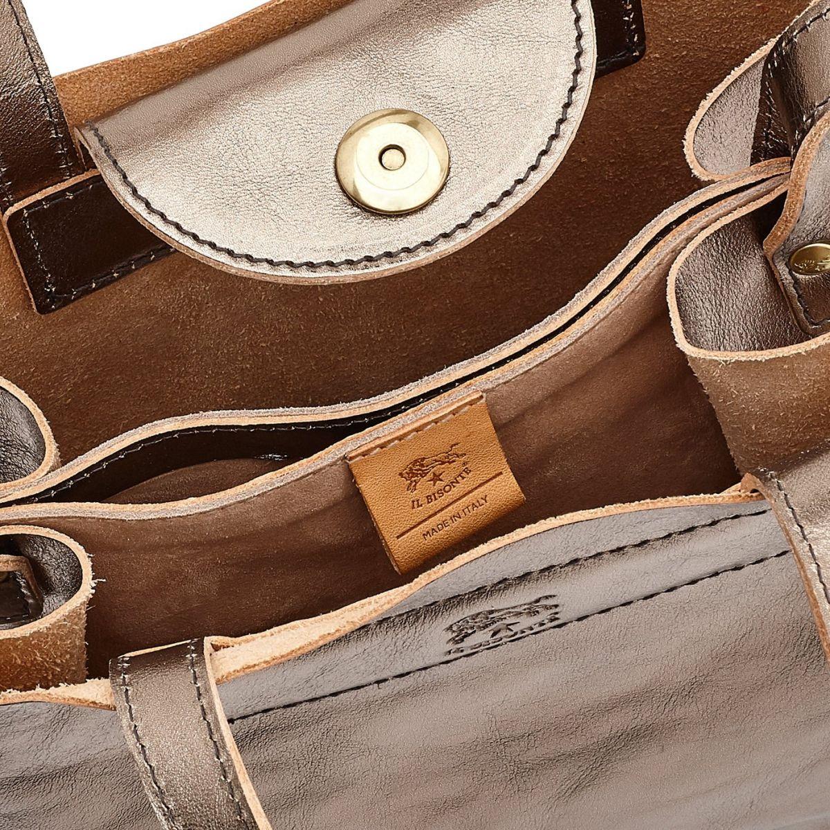 Women's Handbag  in Metallic Leather BTH106 color Metallic Bronze | Details