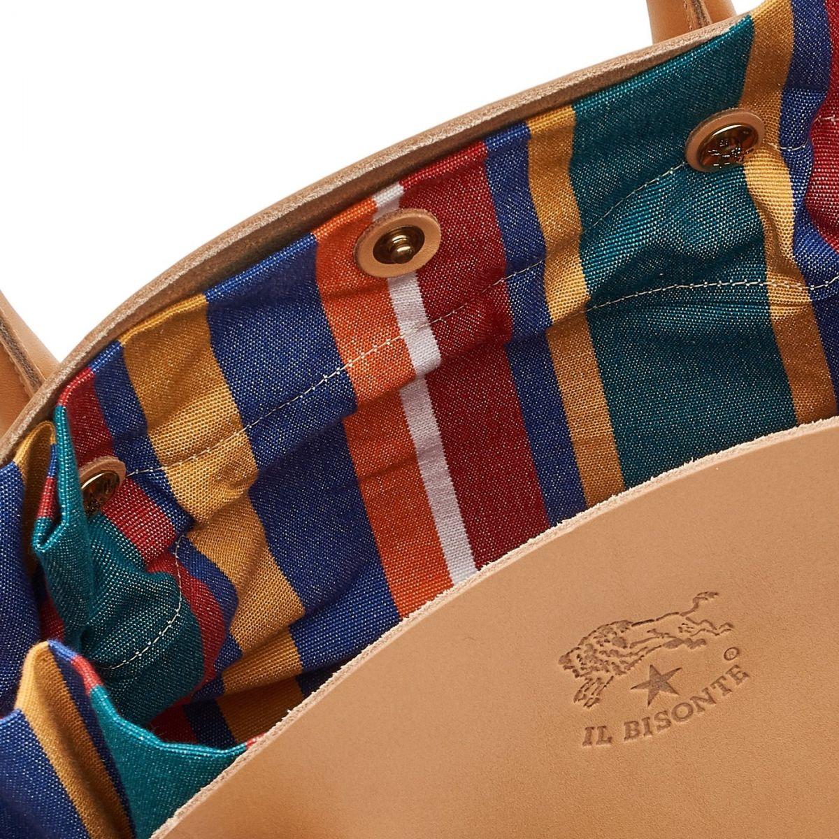 Borsa A Mano da Donna  in Pelle Di Vacchetta BTH108 colore Naturale/Multicolor | Details