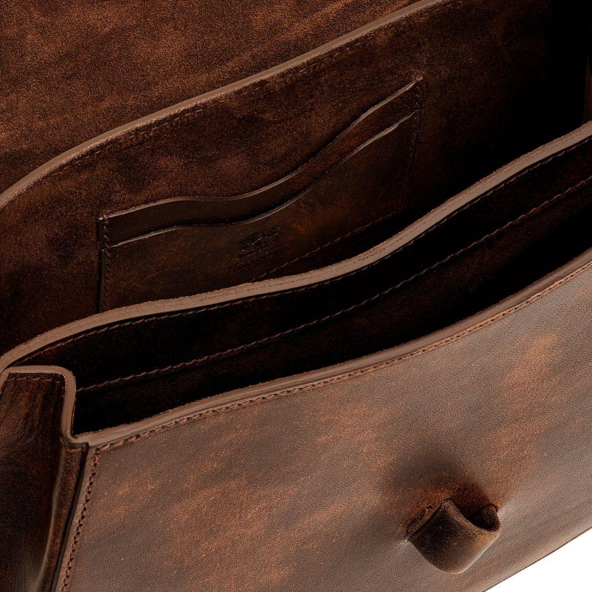 Women's Handbag  in Brushed Cowhide Leather BTH112 color Dark Brown   Details