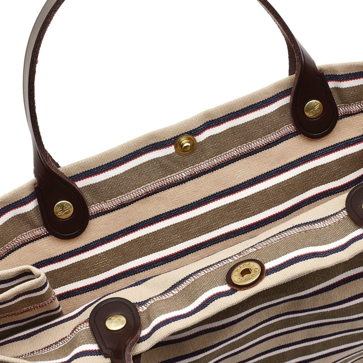Women's Handbag  in Striped Cotton Canvas BTH126 color Multicolor | Details