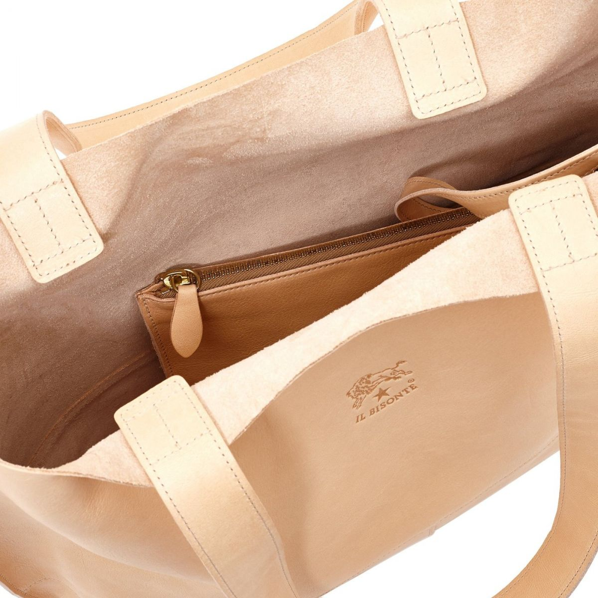 Valentina - Women's Tote Bag in Cowhide Double Leather color Natural - Talamone line BTO003 | Details