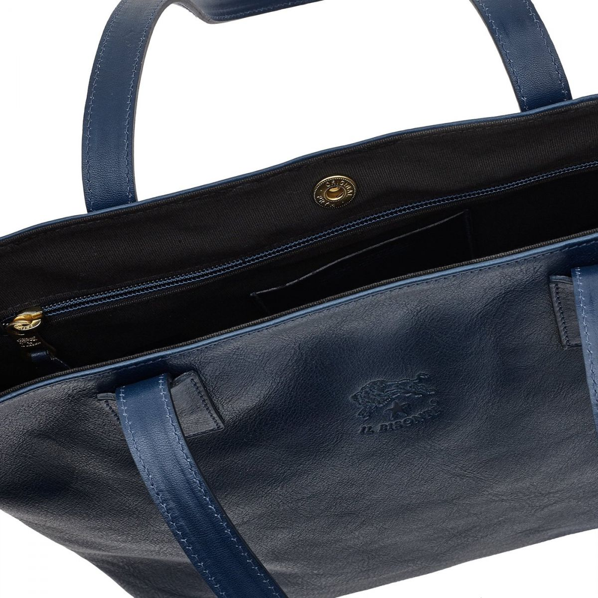 Women's Tote Bag in Cowhide Double Leather BTO007 color Blue | Details