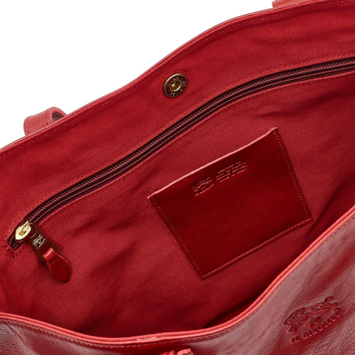 Women's Tote Bag in Cowhide Double Leather BTO007 color Red | Details